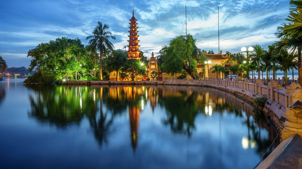 Panorama view of Trấn Quốc pagoda, the oldest temple in Hanoi, Vietnam