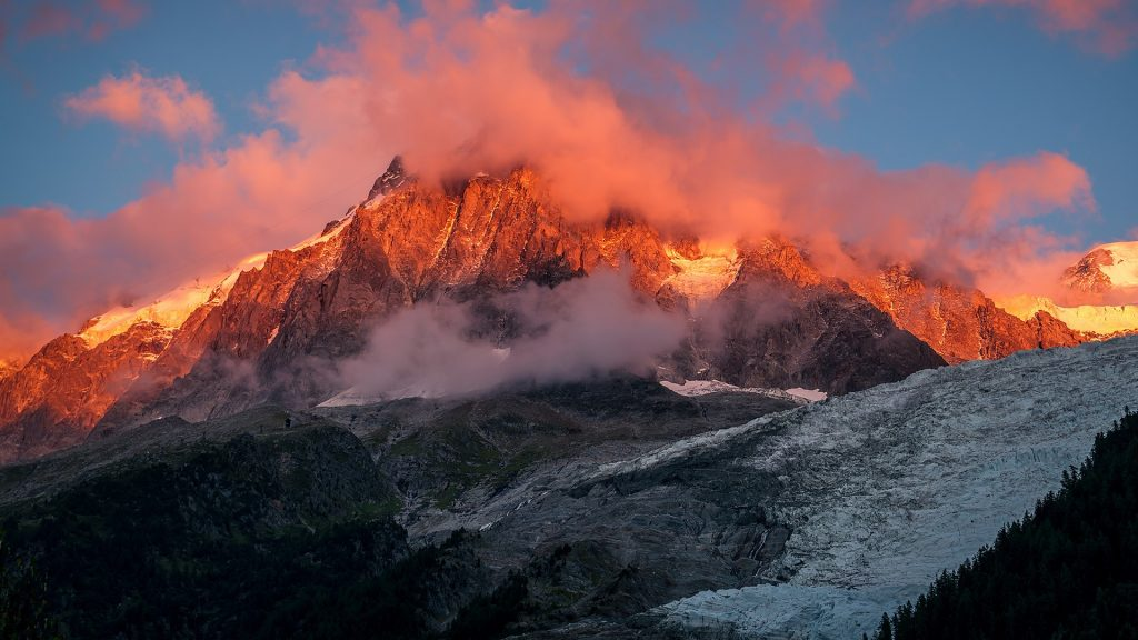 Mont Blanc mountain range view on peak and glacier at sunset, Chamonix-Mont-Blanc, France