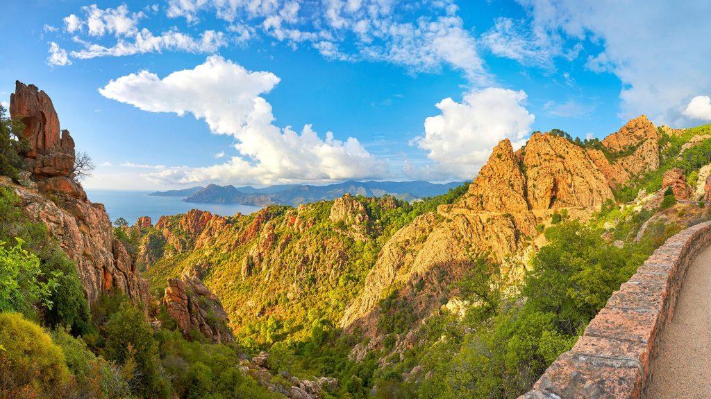 Landscape with mountain road through the Calanches de Piana, Corsica Island, France