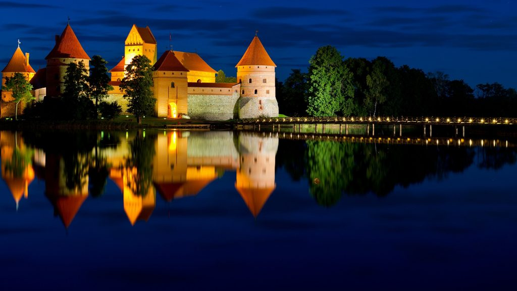 Trakai Island Castle on Lake Galvė in night, Lithuania