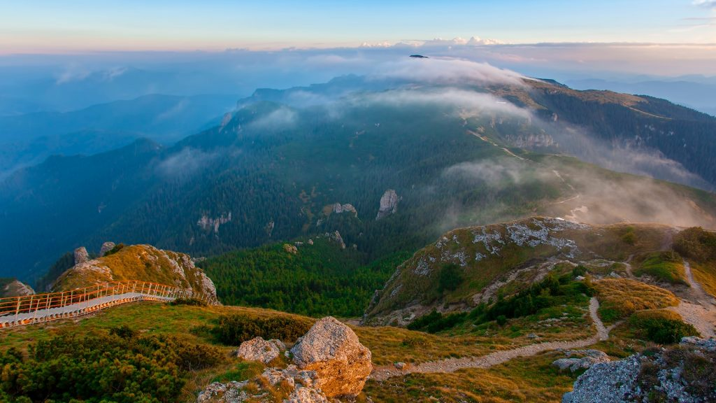Sunrise over Ceahlău Massif mountain landscape in Romania