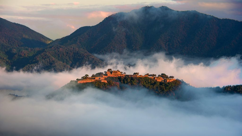 Takeda Castle ruins at sunrise,  Asago, Hyōgo Prefecture, Japan