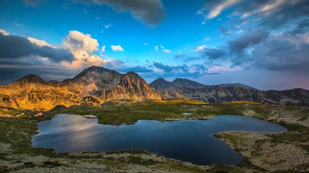 Panoramic view of Kamenitsa Peak And Tevno lake, Pirin Mountain in Bulgaria