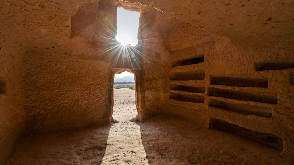 Nabatean carved tombs in Mada'in Saleh or Hegra, Al-`Ula, Saudi Arabia
