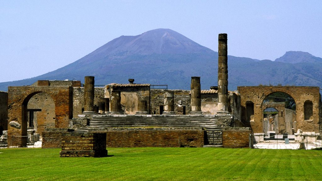Pompeii ruins with Mount Vesuvius, Pompei, Naples, Campania, Italy