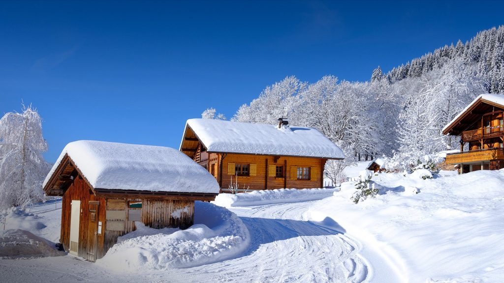 Morning winter landscape after a snowfall at La Clusaz, Haute-Savoie, France