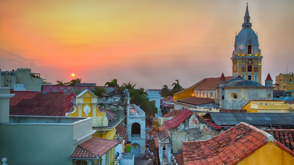 Sunset over the old city of Cartagena, Colombia