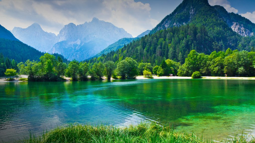 Lake under mountains, Jasna Lake, Prisank Peak, Triglav National Park, Julian Alps, Slovenia