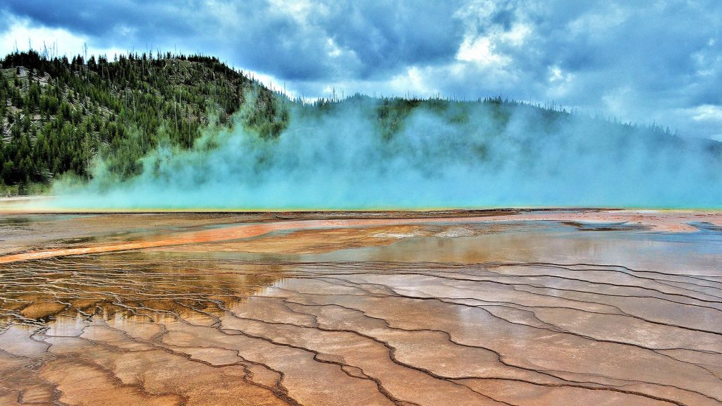 Activity display at Grand Prismatic Spring, Yellowstone National Park, Wyoming, USA