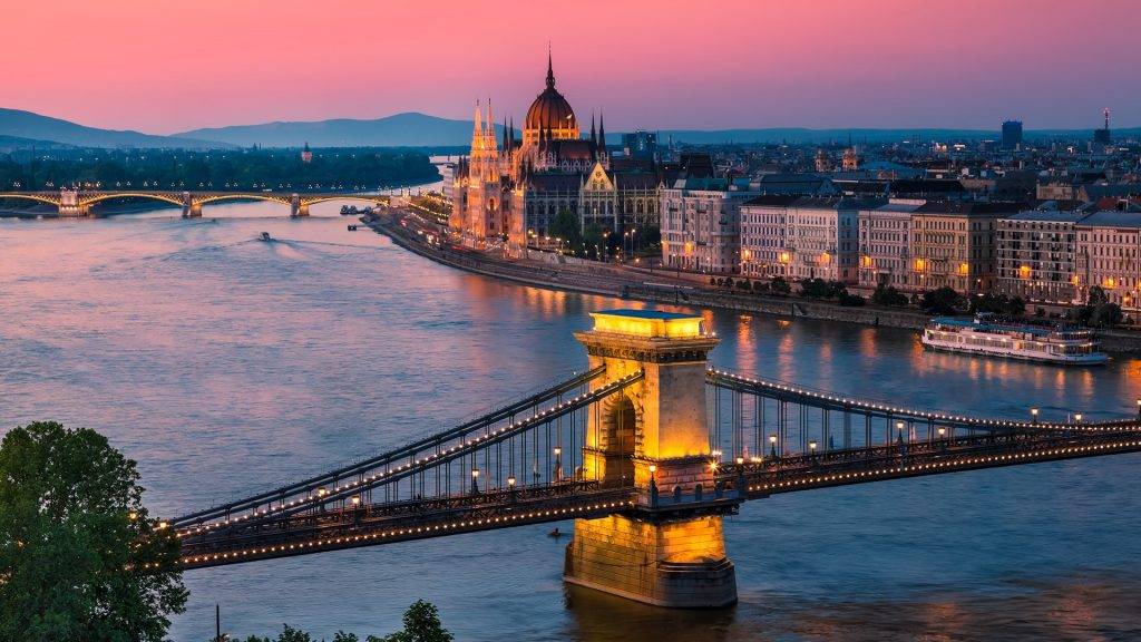 Panorama of Budapest with the Chain Bridge over Danube and the Parliament, Hungary