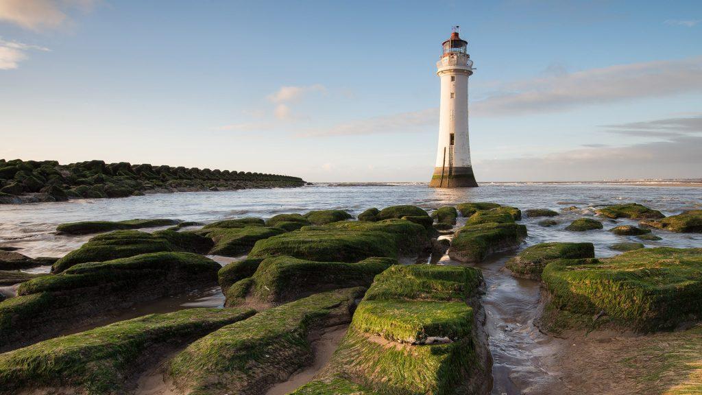Perch Rock Lighthouse in New Brighton, Wallasey, Merseyside, England, UK