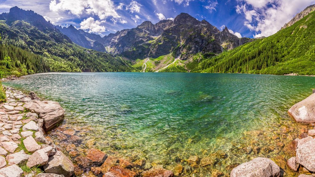 Panorama of Morskie Oko lake in the middle of the Tatra mountains, Poland