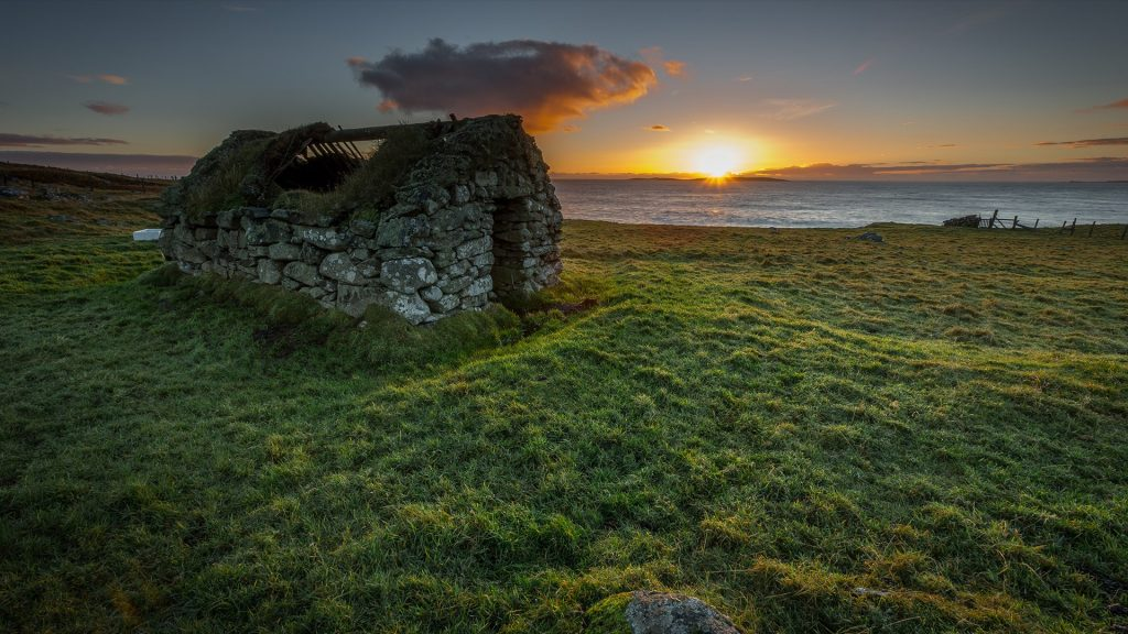 Stone built croft house in Whalsay Shetland Islands, Scotland, UK