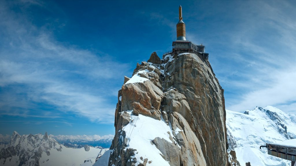 The mountain top station of the Aiguille du Midi in Chamonix, France