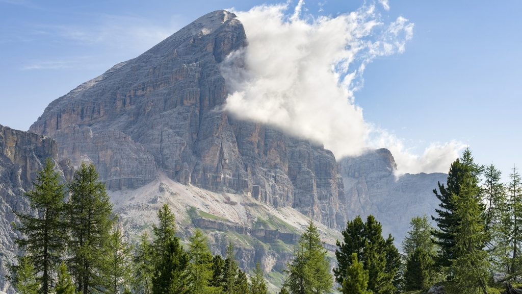 The Tofane from south, Dolomites, province of Belluno, Veneto, Italy