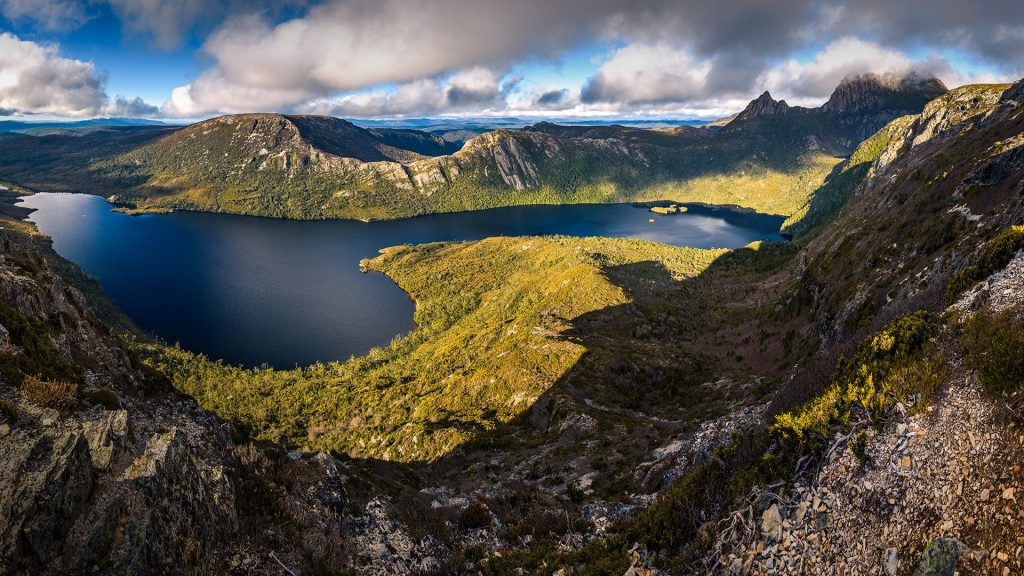View from Marions Lookout to Dove Lake and Cradle Mountain, Tasmania, Australia