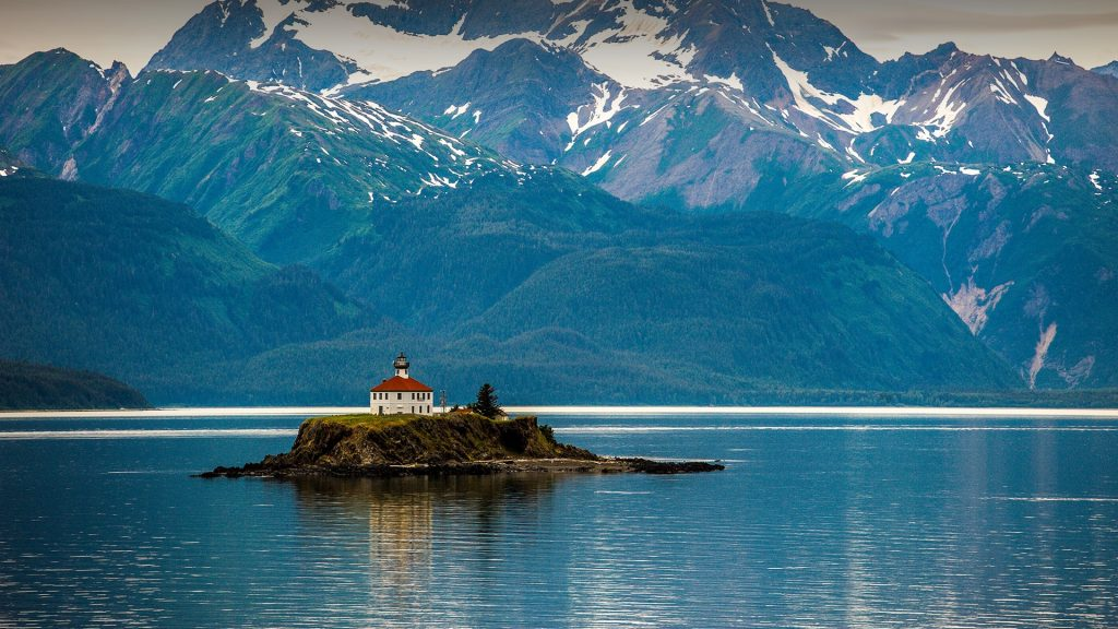 The Eldred Rock Lighthouse in front of the Chilkat mountains near Haines, Alaska, USA