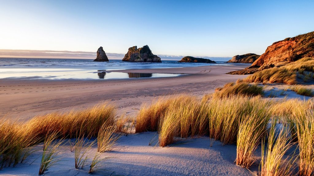 Natural landscape of Wharariki Beach at sunset, South Island, New Zealand