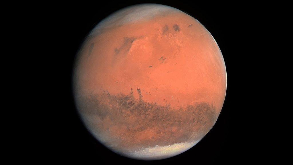 Mars captured during a flyby of the planet by the comet-chasing Rosetta spacecraft