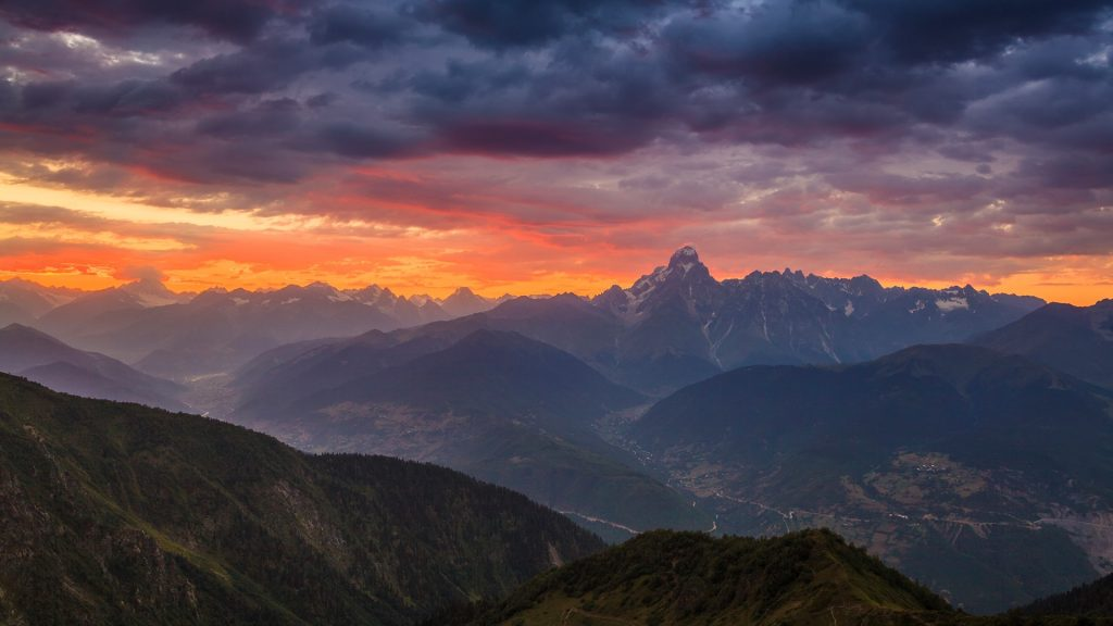 Sunrise in the mountains with view to Ushba, Svaneti, Georgia, Caucasus