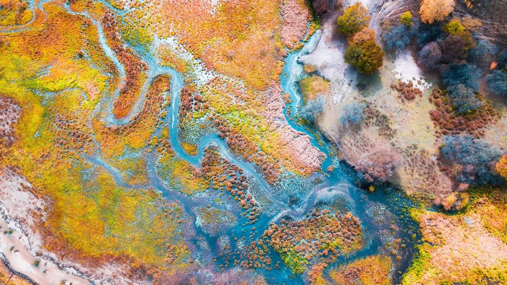 Aerial view of multicolored autumn, Chifeng, Inner Mongolia, China