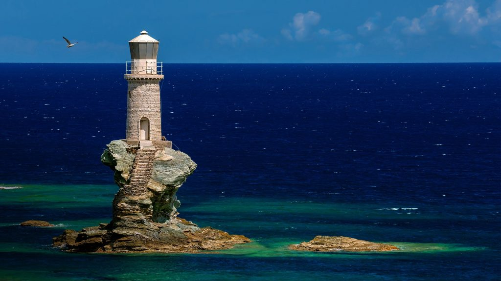 Tourlitis Lighthouse in Chora on Andros island, Cyclades, Greece