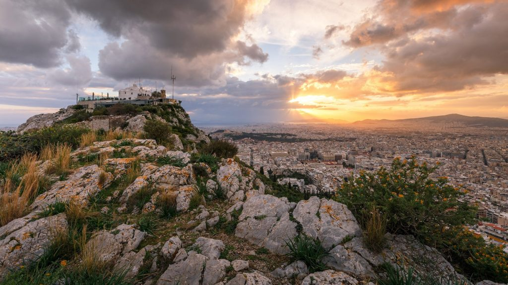 Evening view of Athens from Lycabettus hill, Greece