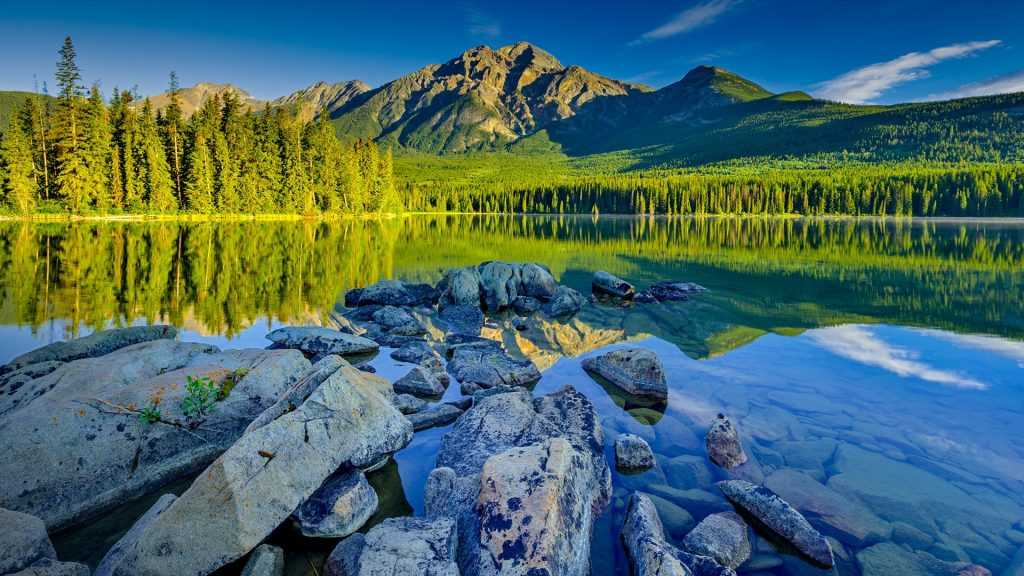 Pyramid Mountain and lake in Jasper National Park at sunrise, Alberta, Canada