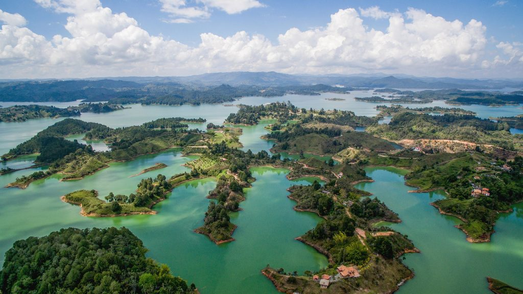 Aerial view of a beautiful reservoir in Guatapé, Antioquia, Colombia