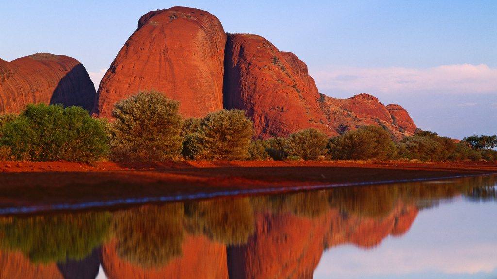 Olgas or Kata Tjuṯa rock formations in Northern Territory, central Australia