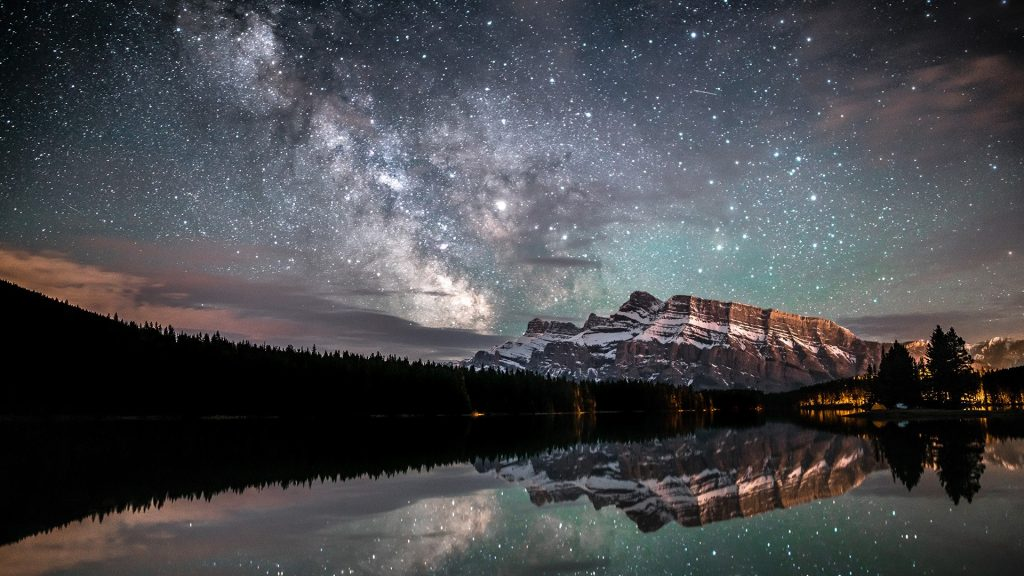 Milky Way over Two Jack Lake, Banff National Park, Alberta, Canada
