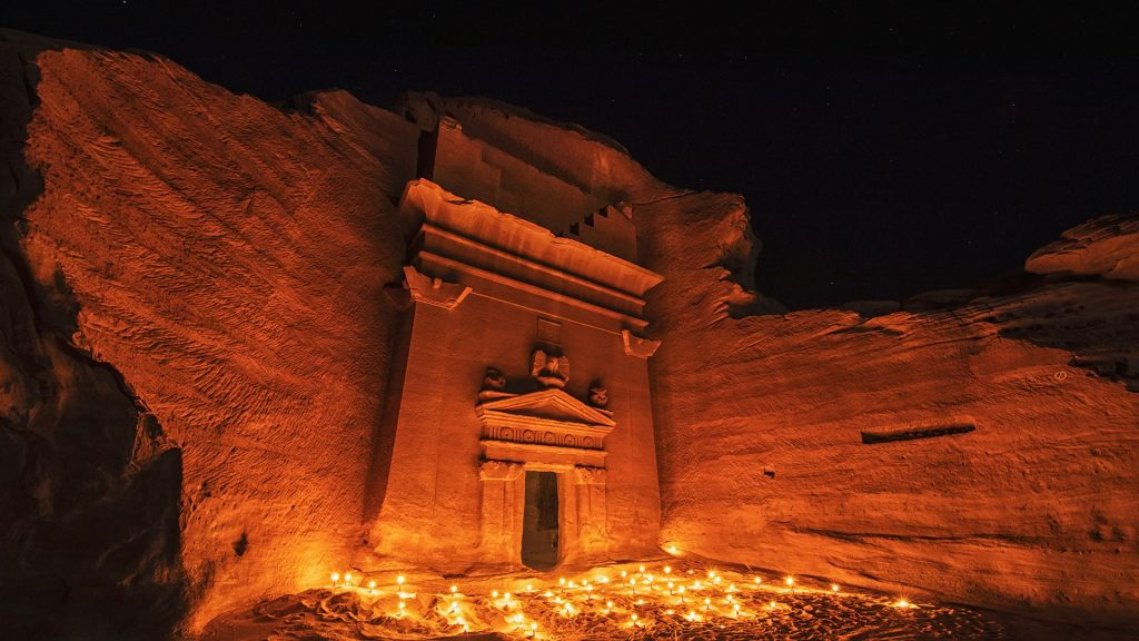 Tomb carved in sandstone at Hegra or Mada'in Saleh site, Al-ʿUla, Saudi Arabia