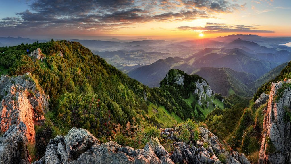 Mountain valley during summer sunrise view from Veľký Choč, Slovakia