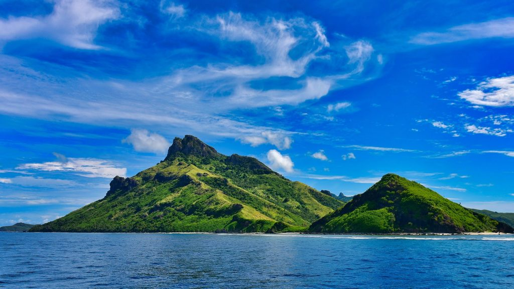 View of Fiji's tropical islands from a cruise