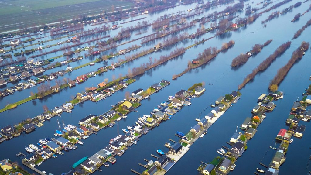 Aerial view at Loosdrecht Kalverstraat, Scheendijk, Utrecht, Netherlands