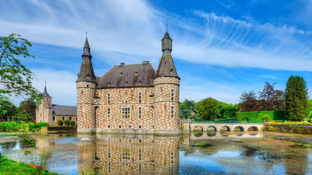 Moated Jehay Castle in Amay, Province of Liege, Wallonia, Belgium