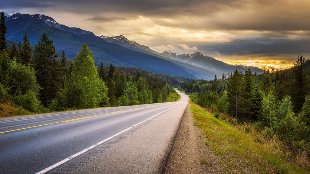 Scenic Icefields Parkway in Banff National Park at sunset, Alberta, Canada