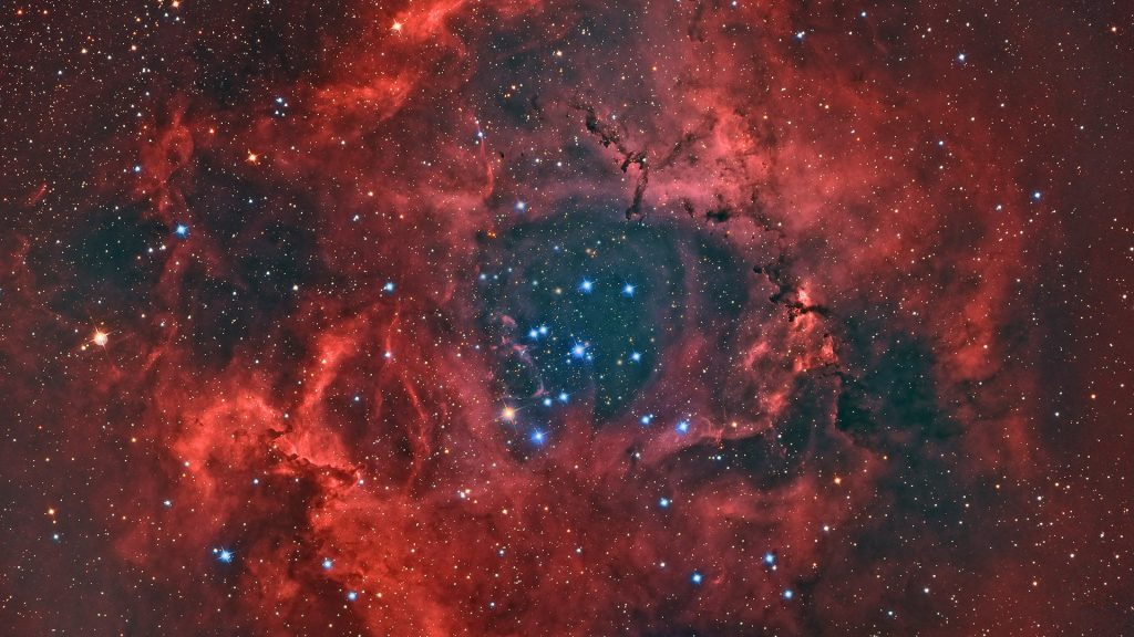 The Rosette Nebula large spherical H II region in Monoceros constellation