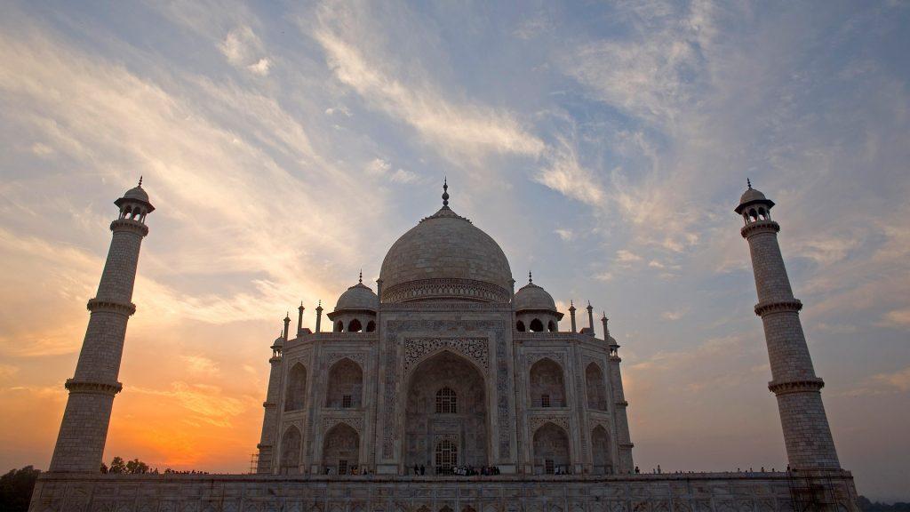 Taj Mahal with sunset behind it, Agra, Uttar Pradesh, India