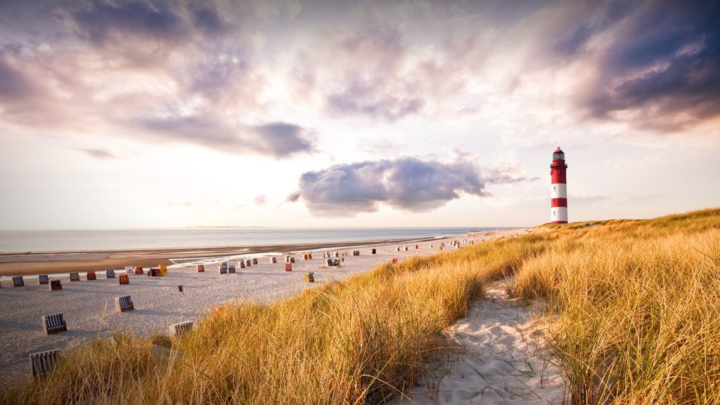 Amrum Lighthouse in the dunes, Nebel, Amrum island, Germany