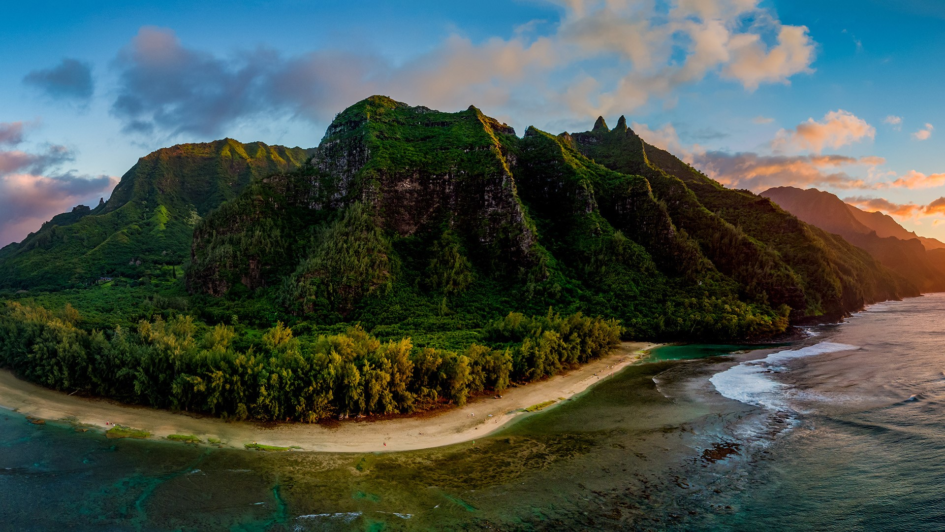 Aerial View Of Nā Pali Coast At Sunset