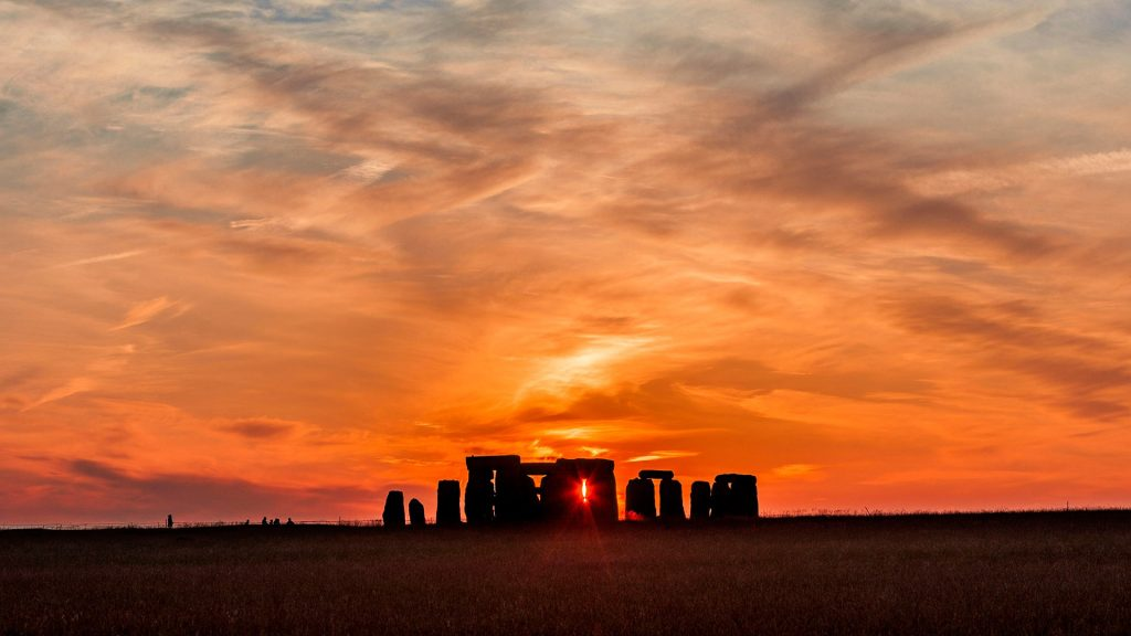 Sunset at Salisbury Plain with Stonehenge, Wiltshire, England, UK