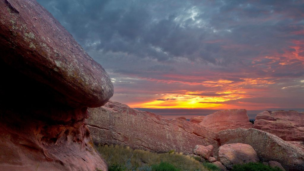 Sunrise from Red Rocks Amphitheater, west of Denver near Morrison, Colorado, USA