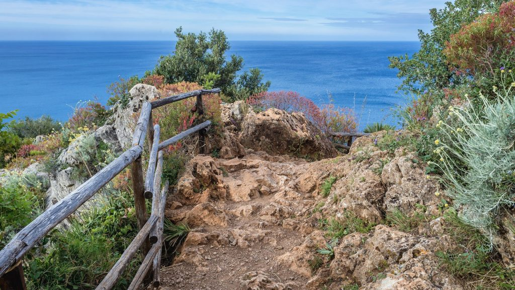 Tourist trail in Zingaro nature reserve on Sicily island, Italy