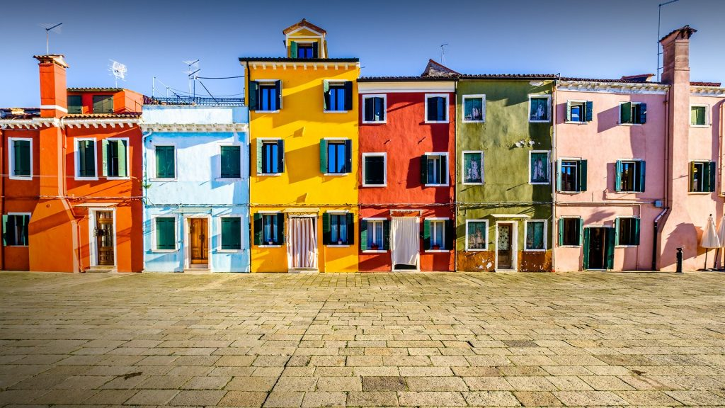 Famous old town of the village Burano near Venice, Italy