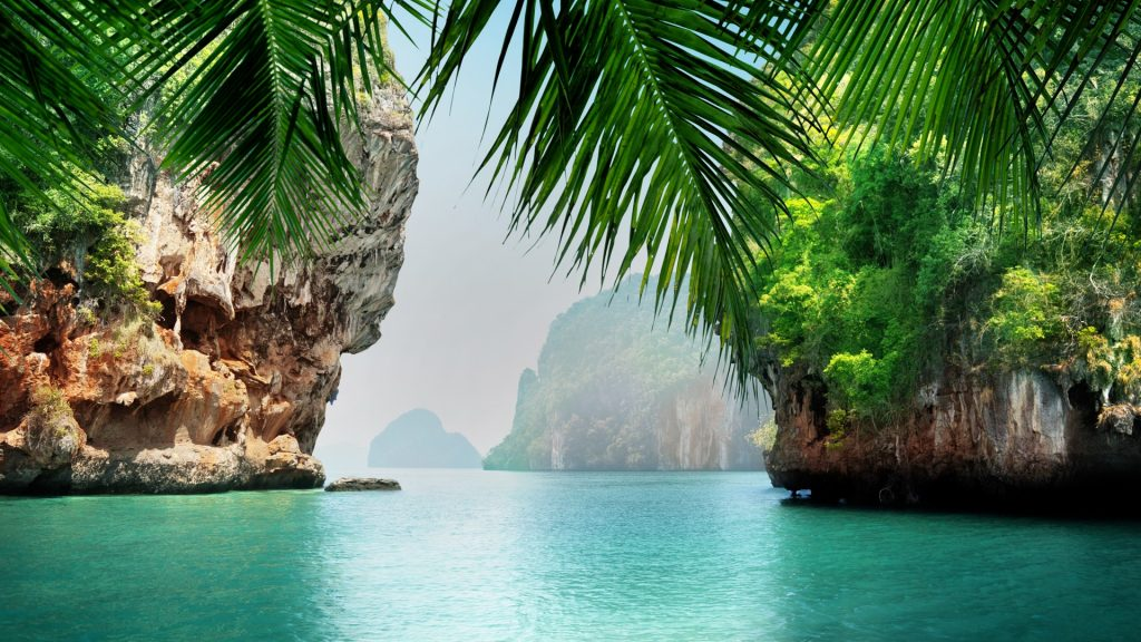 Tropical sea and rocks, Krabi Town, Thailand
