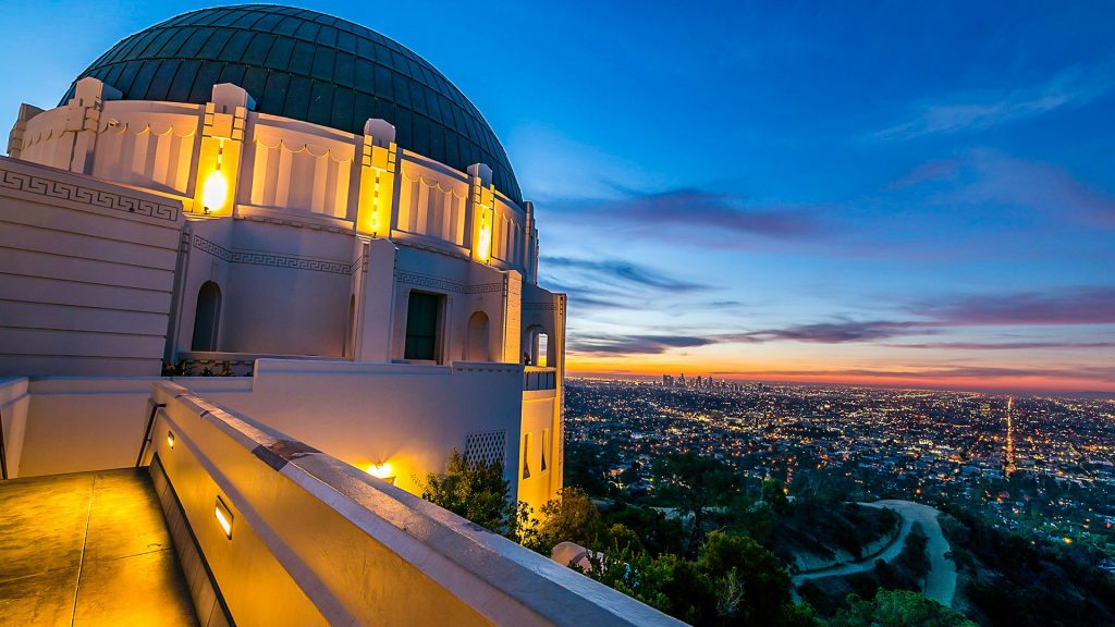Sunrise over the Griffith Park Observatory and Los Angeles skyline, California, USA