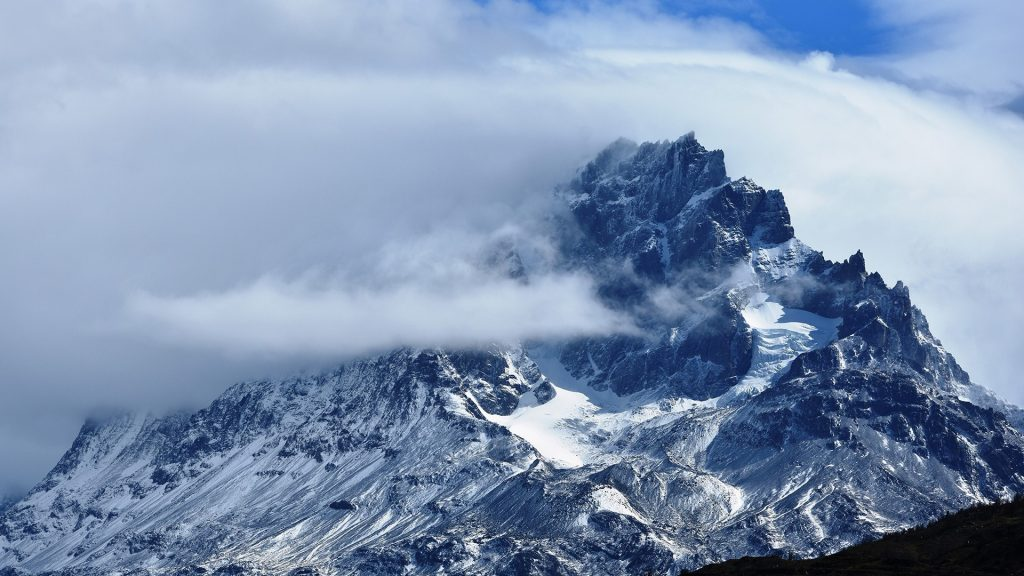 View of Torres del Paine mountains against sky in winter, Patagonia, Chile