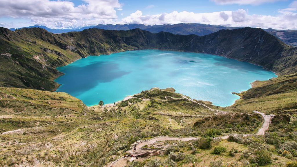View of lake of the Quilotoa caldera, Andes, Ecuador