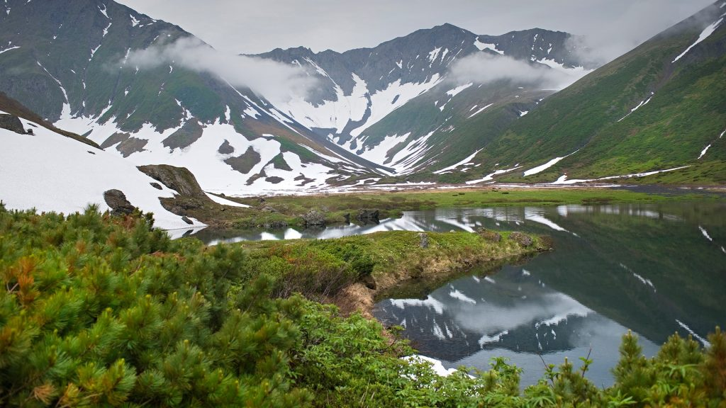 Glaciated valley, Yuzhnaya Glubokaya Bay, Kamchatka, Russia